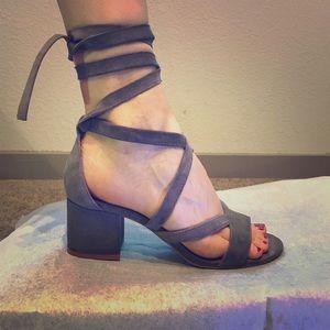 Steve Madden Gray Suede Wrap Around Heels
